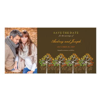 Autumn Fall Trees Woodland Wedding Save The Date Photo Cards