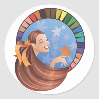 Autumn fall type girl with palette round stickers