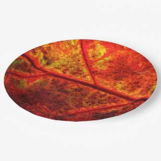 Autumn Fall Wedding Rustic Leaf Photo Close Up 9 Inch Paper Plate