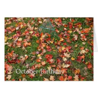 Autumn Fallen Leaves and Rake Card