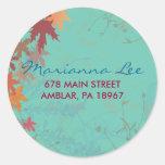 Autumn Falling Leaves Invitation Sticker Seal