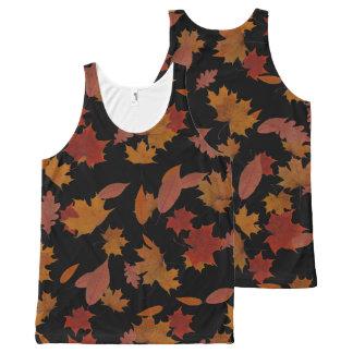Autumn Falling Leaves on Custom Black All-Over Print Singlet