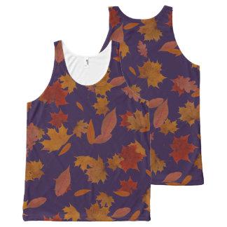 Autumn Falling Leaves on Custom Blue All-Over Print Singlet