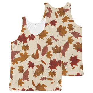 Autumn Falling Leaves on Custom Cream All-Over Print Singlet