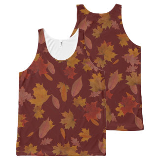 Autumn Falling Leaves on Custom Wine Red All-Over Print Singlet
