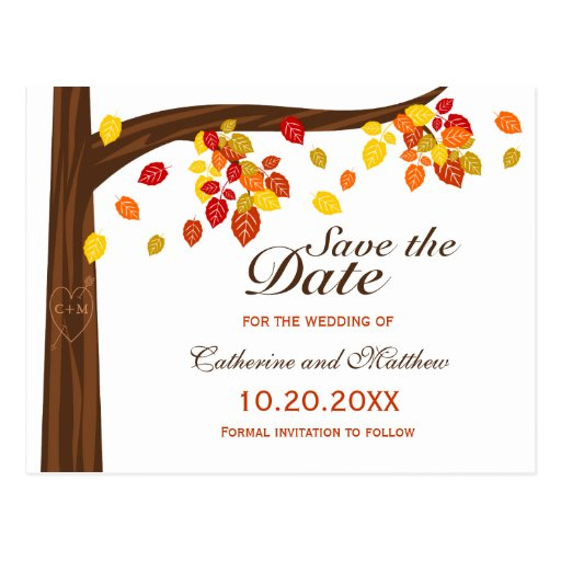Autumn Falling Leaves Wedding Save The Date Post Card