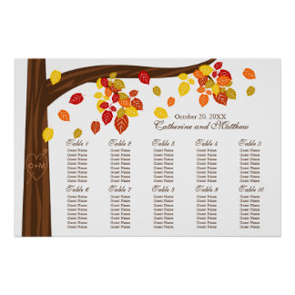 Autumn Falling Leaves Wedding Seating Chart Print