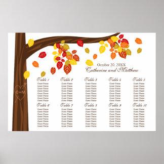 Autumn Falling Leaves Wedding Seating Chart Print