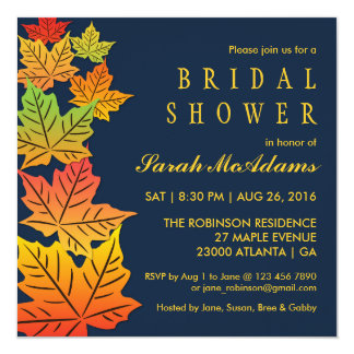 Autumn Falling Maple Leaf Wedding Invitation