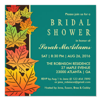 Autumn Falling Maple Leaf Wedding Invitation Teal