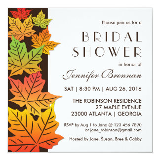 Autumn Falling Maple Leaf Wedding Invitation White