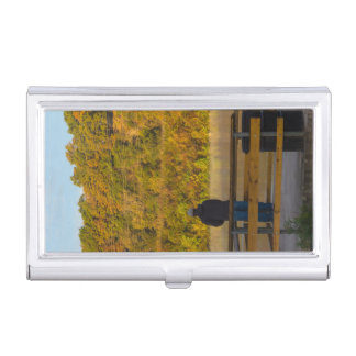 Autumn Fishing Lake Springfield Business Card Holder