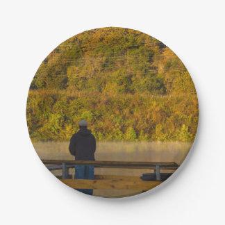 Autumn Fishing Lake Springfield Paper Plate