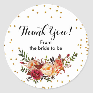 Autumn Floral Confetti Thank You Sticker