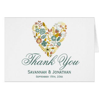 Autumn Floral Heart Fall Wedding Thank You Cards