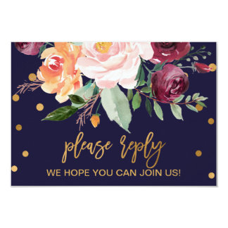 Autumn Floral Menu Choice RSVP Card