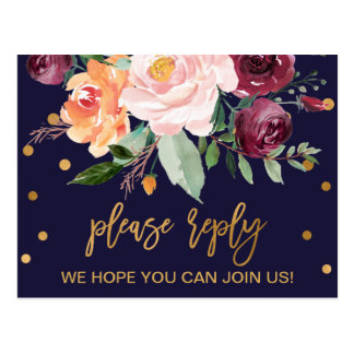 Autumn Floral Menu Choice RSVP Postcard