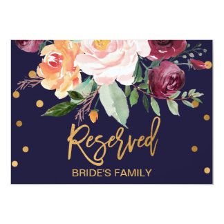 Autumn Floral Reserved Sign Card
