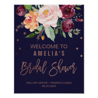 Autumn Floral Rose Gold Bridal Shower Welcome Poster