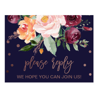 Autumn Floral Rose Gold Menu Choice RSVP Postcard