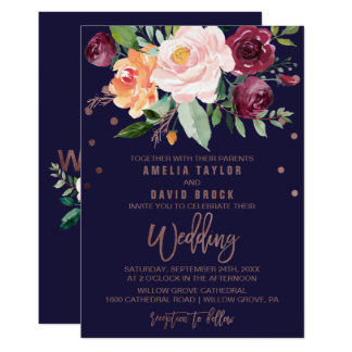 Autumn Floral Rose Gold Typography Backing Wedding Card