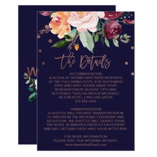 Autumn Floral Rose Gold Wedding Details Card