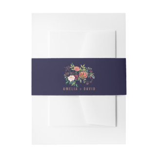 Autumn Floral Rose Gold Wedding Invitation Belly Band