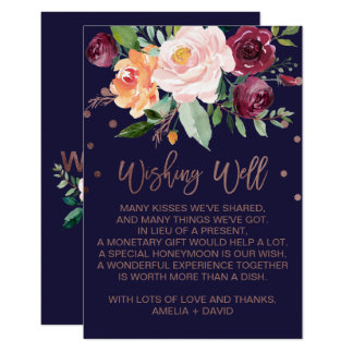 Autumn Floral Rose Gold Wedding Wishing Well Card