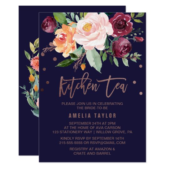 autumn floral rose gold wreath back kitchen tea invitation zazzle