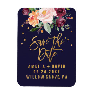 Autumn Floral Save the Date Magnet