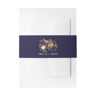 Autumn Floral Wedding Invitation Belly Band