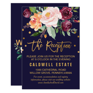 Autumn Floral Wedding Reception Insert Card