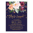 Autumn Floral with Wreath Backing Engagement Party Card
