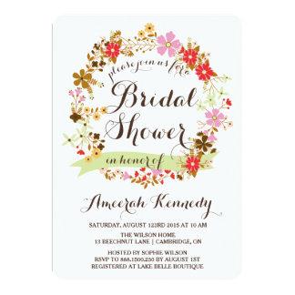 Autumn Floral Wreath Bridal Shower Invitation