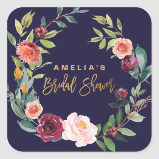 Autumn Floral Wreath Bridal Shower Square Sticker