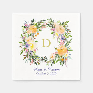 Autumn Floral Wreath Monogram Wedding Disposable Serviettes