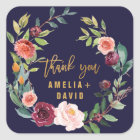 Autumn Floral Wreath Thank You Favour Square Sticker