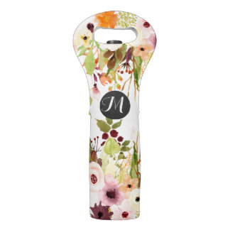 Autumn Flower Garden Monogram Wine Bag