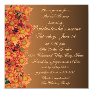 "Autumn Flowers Bridal Shower Invitation 5.25"" Square Invitation Card"