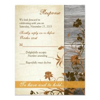 Autumn Flowers, FAUX Wood & Parchment RSVP Card 11 Cm X 14 Cm Invitation Card