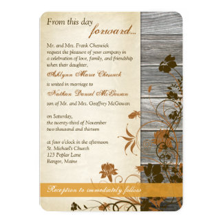 Autumn Flowers, FAUX Wood & Parchment Wedding Card