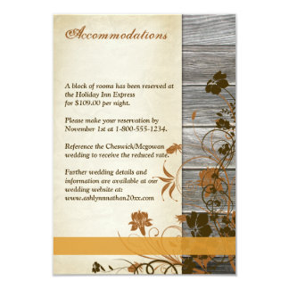 Autumn Flowers, FAUX Wood Wedding Enclosure Card