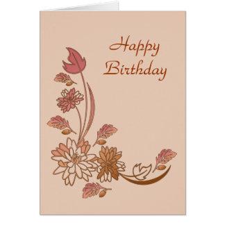 Autumn Flowers Happy Birthday Card Template