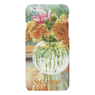 Autumn Flowers in Glass Vase with Your Name