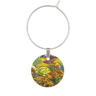 Autumn Flowers in Pots Wine Glass Charm
