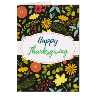 Autumn Flowers Leaves Thanksgiving Greeting Card
