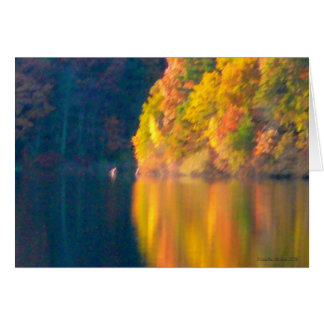 Autumn foliage at Walden Pond - October reflection Card