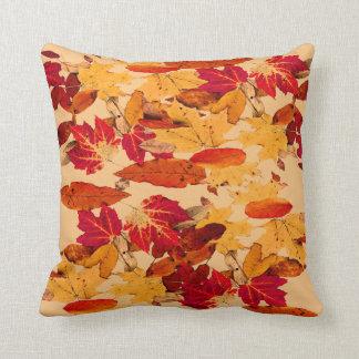 Autumn Foliage in Red Orange Yellow Brown Cushion