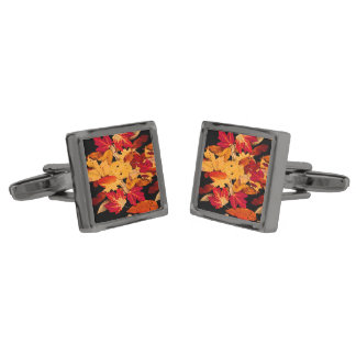 Autumn Foliage in Red Orange Yellow Brown Gunmetal Finish Cufflinks