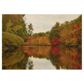Autumn Foliage Reflections Wood Poster